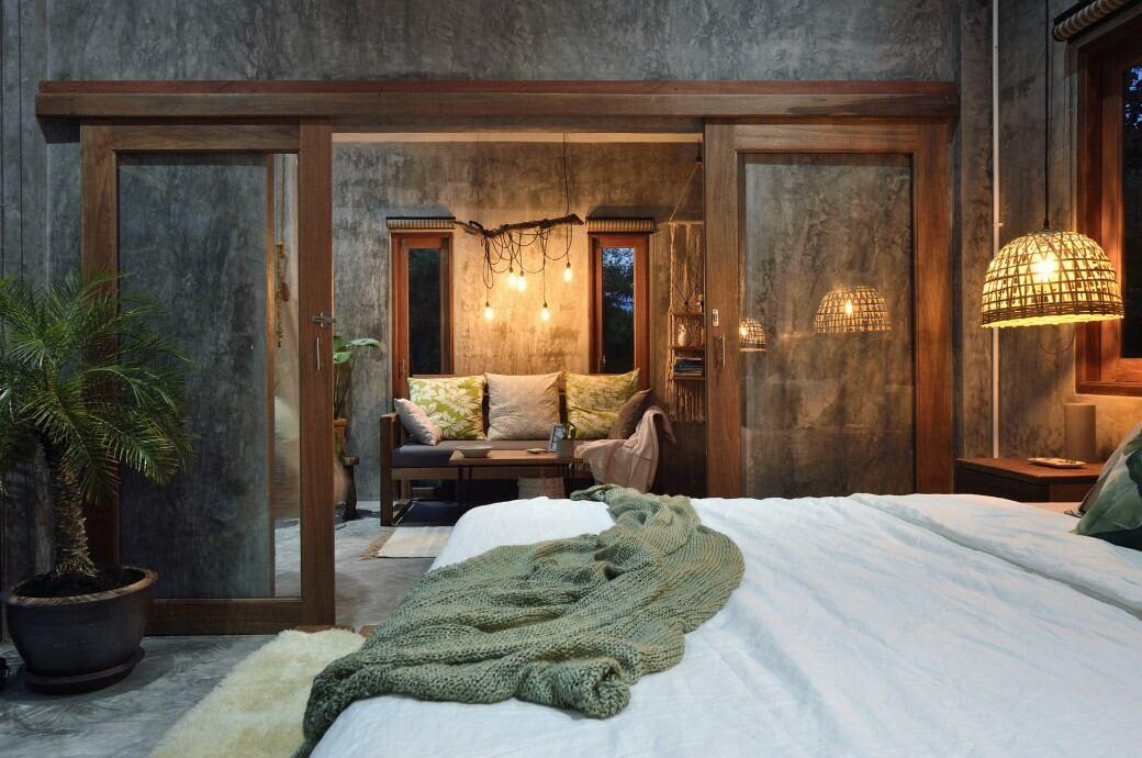 Wohntrends: Schlafzimmer mit Beton und Holz