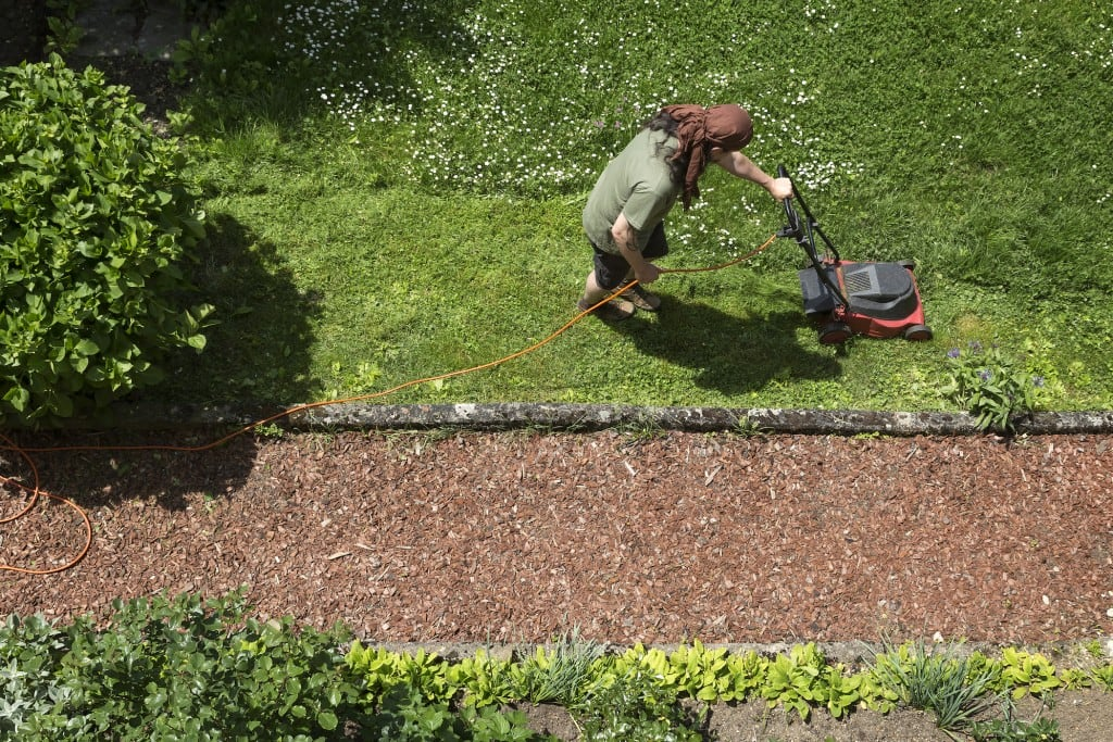 Mann mäht Rasen mit Elektro-Rasenmäher