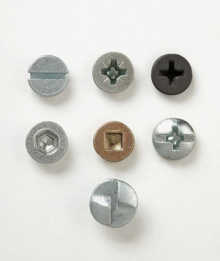 Head designs of different screws