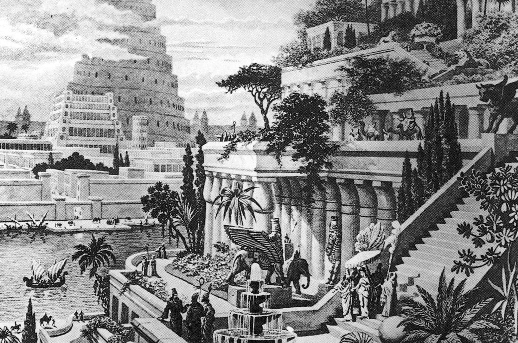 Diese Abbildung der gestuften Hängenden Gärten von Babylon am Fluss basiert auf den alten Schriften, ist jedoch im zeitgenössischen italienischen Stil des 17. Jahrhunderts mit formalen Gartenarrangements und römischen Kolonnaden gestaltet.