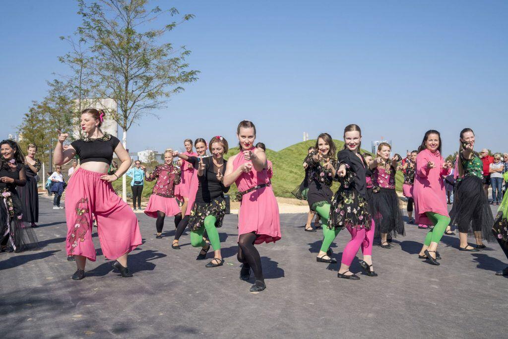 Mitmachen für alle: Gemeinsames Tanzen zum Buga-Song