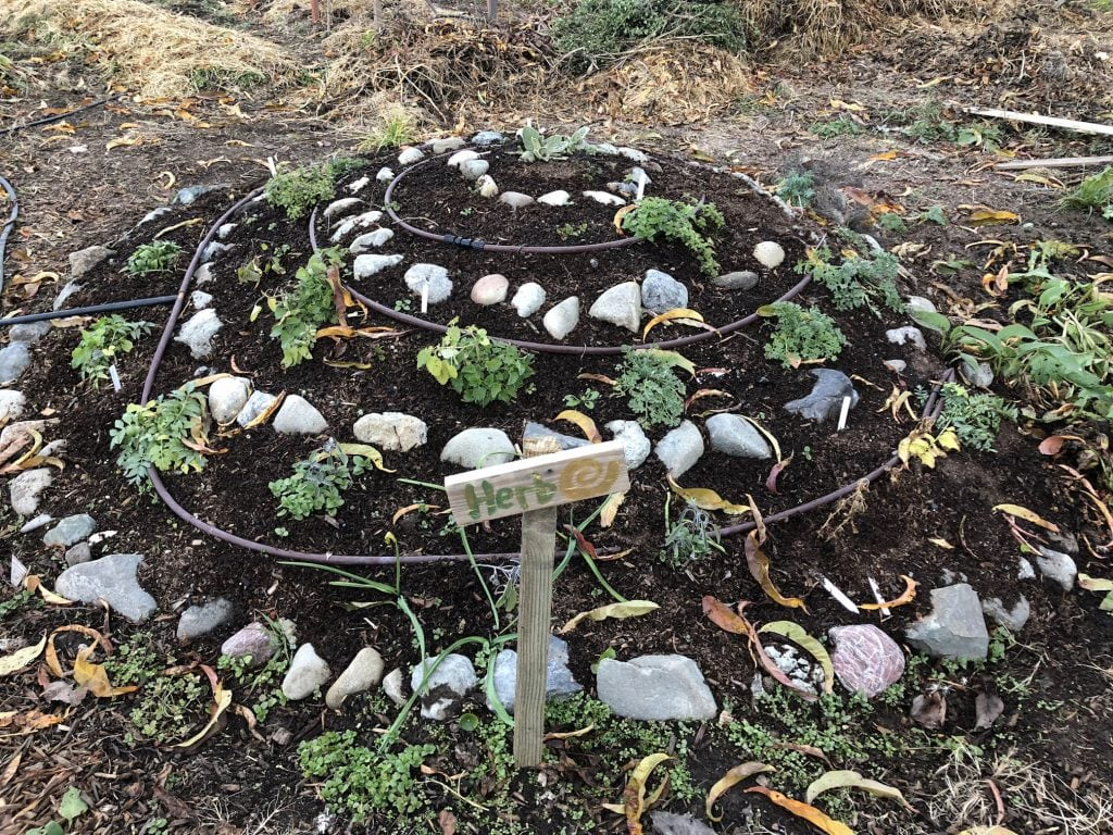 Eine Kräuterspirale ist ein Hügel, auf den Kräuter entsprechend ihrer Bedürfnisse optimal angepflanzt werden können. Am Fuße befindet sich ein kleiner Teich.