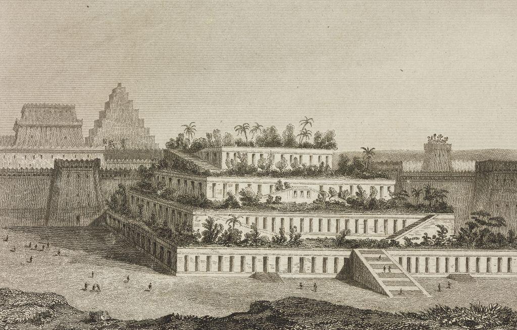Rekonstruktion der hängenden Gärten von Babylon, herausgegeben von Firmin Didot Freres, Paris, 1852