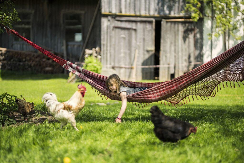 Mädchen in Hängematte mit Hühnern drumherum