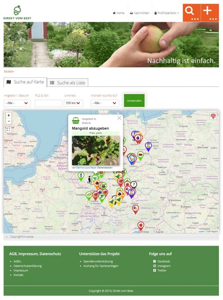 Online-Tauschbörse für Obst und Gemüse