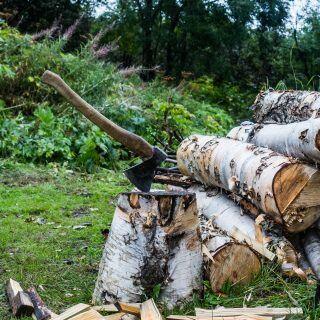 Axt und Beil kommen meistens bei der Holzarbeit zum Einsatz