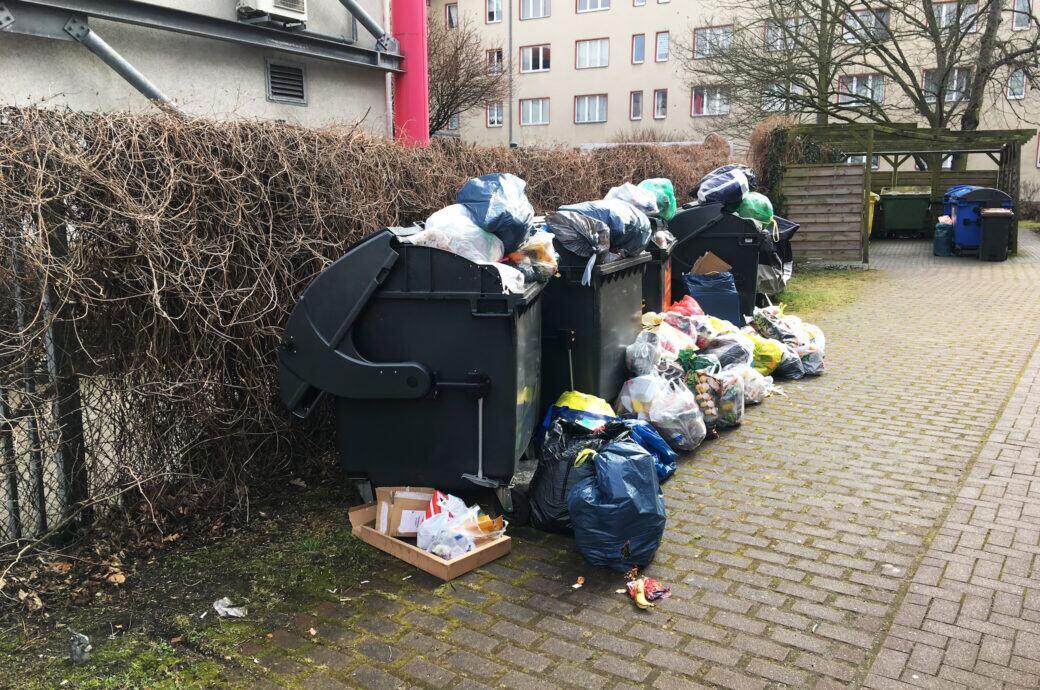 Wird Müll neben dem Abfallbehälter dennoch abgeholt?