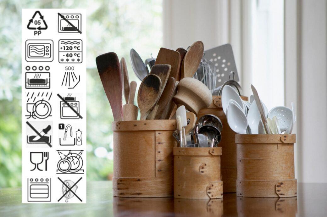 Die Symbole auf Küchenutensilien geben beispielsweise an, ob sie in der Spülmaschine gereinigt werden dürfen