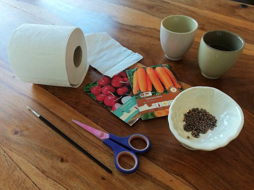 Materialien und Werkzeug für DIY-Saatbänder