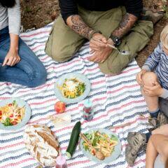 Eine Familie sitzt auf einer Wiese beim Picknick