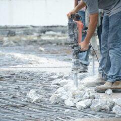 Baustelle mit Presslufthammer
