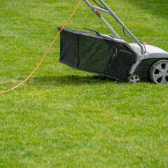 Ein Vertikutierer auf dem Rasen
